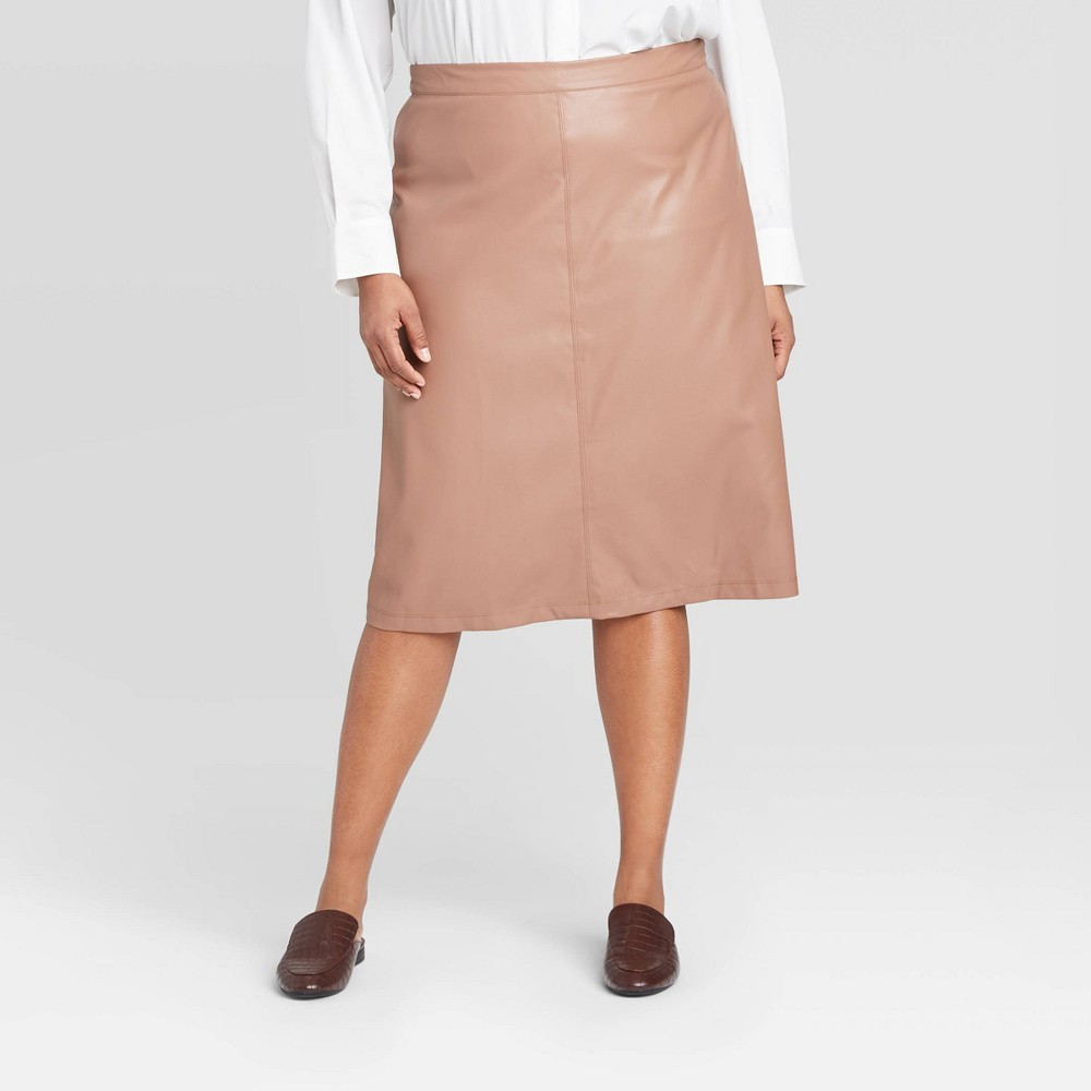 Women's Plus Size Mid-Rise Faux Leather A-Line Midi Skirt -Prologue Brown 18W was $29.99 now $20.99 (30.0% off)