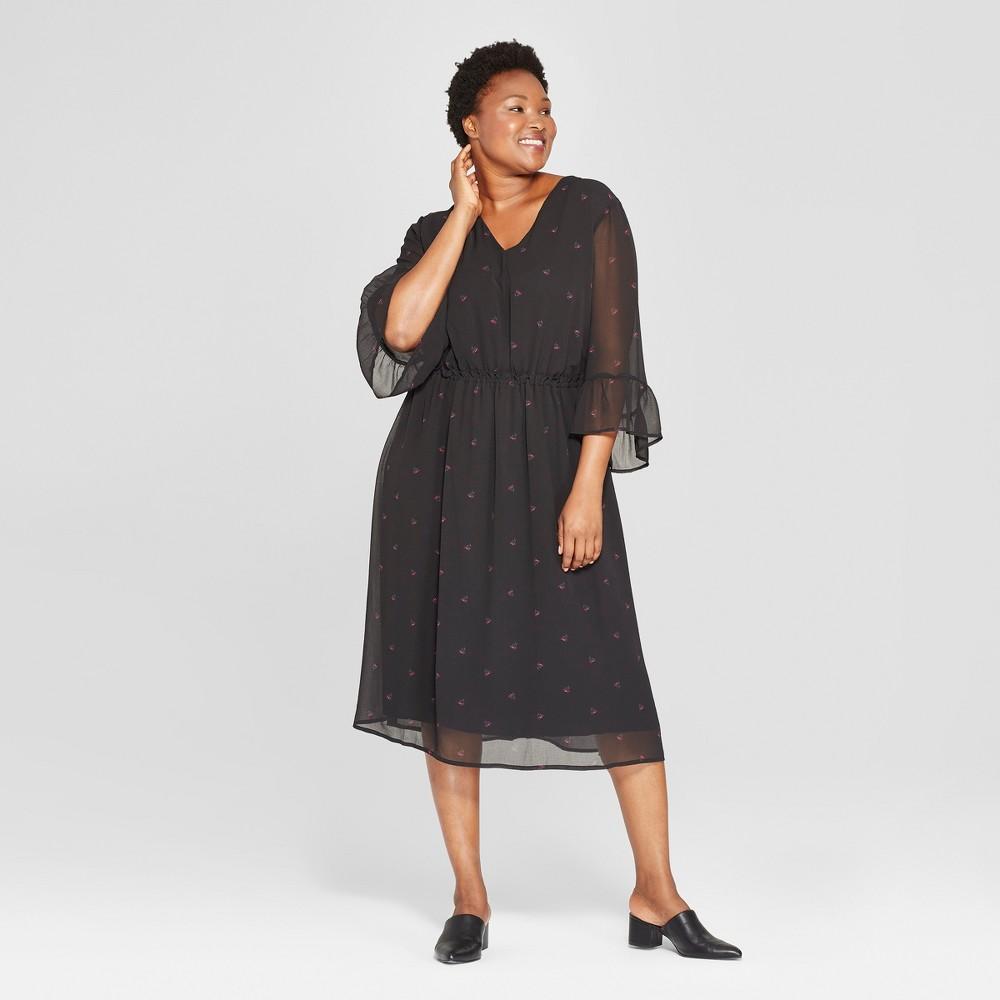 Women's Plus Size Floral Print Ruffle Waist Dress - Ava & Viv Black 4X