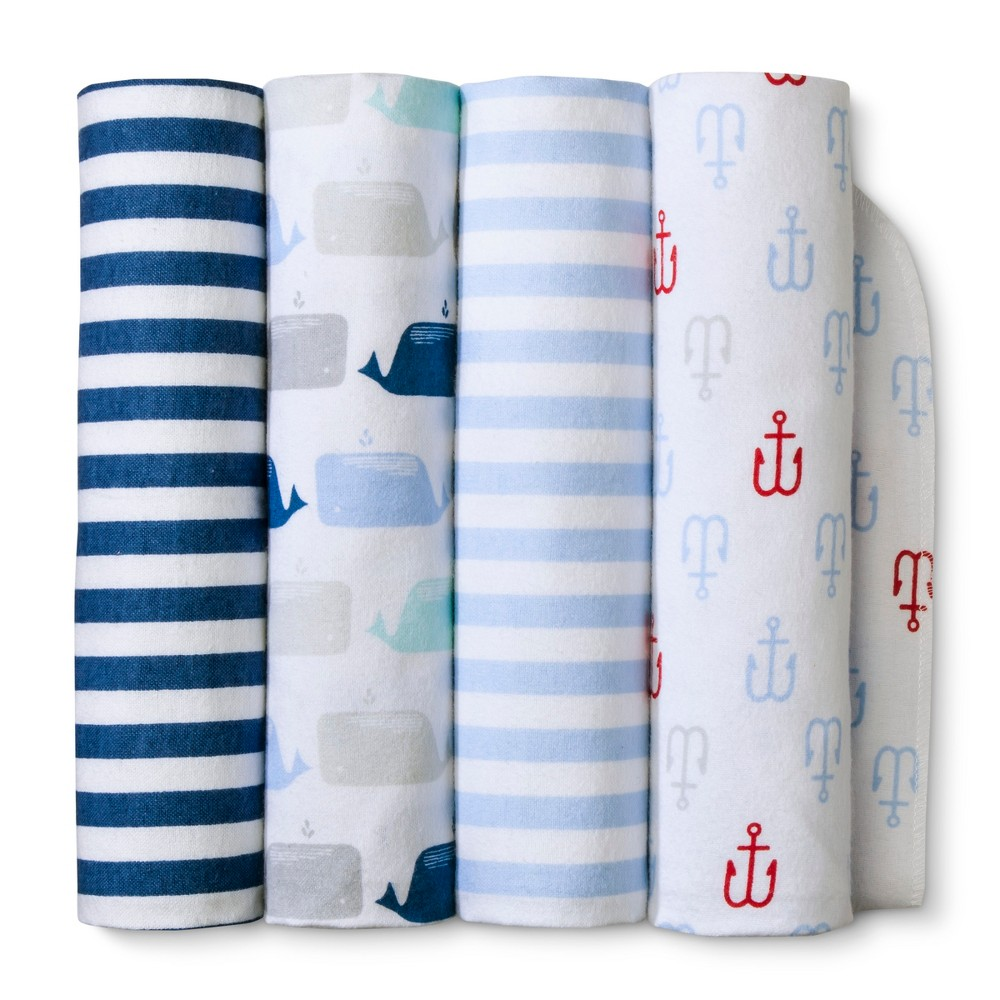 Image of Flannel Baby Blankets Flannel By the Sea 4pk - Cloud Island Blue