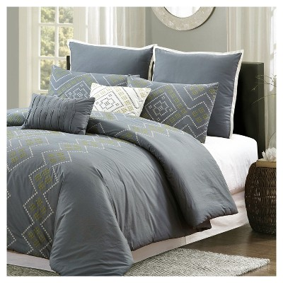 Dark Gray Tribal Diamond Stripe Print Comforter Set (Queen)7 Piece - Style Quarters®
