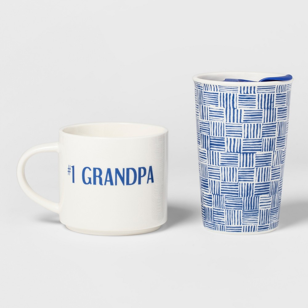 2pc Porcelain #1 Grandpa Traveler Set - Threshold, Multi-Colored