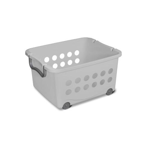 Sterilite Stacking Storage Basket with Wheels Dark Gray - image 1 of 3
