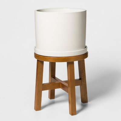 21.3  x 12.6  Ceramic Planter with Wood Stand White/Brown - Threshold™