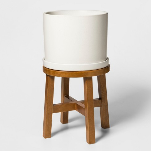 """21.3"""" x 12.6"""" Ceramic Planter with Wood Stand White/Brown - Threshold™ - image 1 of 1"""
