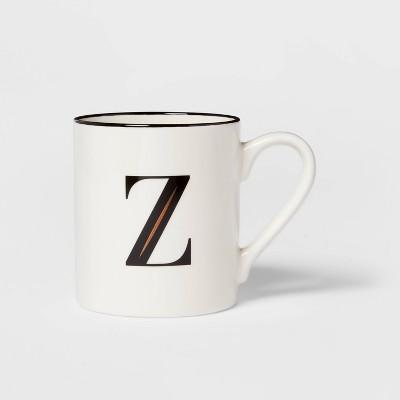 16oz Stoneware Monogram Mug Z White - Threshold™
