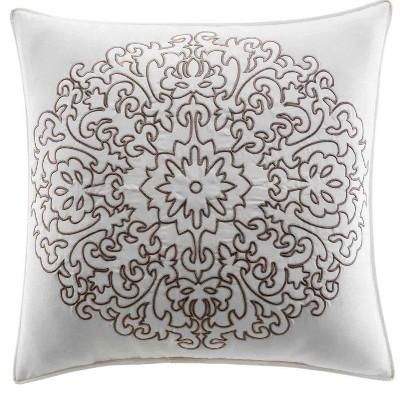 Embroidered Medallion Throw Pillow Brown - Stone Cottage