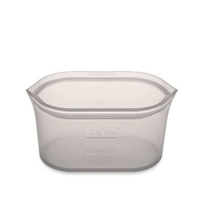 Zip Top 24oz Reusable 100% Platinum Silicone Container - Medium Dish - Gray