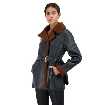Sebby Collection Women's Double Breasted Faux Shearling