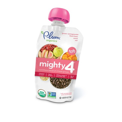Plum Organics Mighty 4 Pouch Guava, Pomegranate, Black Bean, Carrot, Oat - 4oz - image 1 of 6