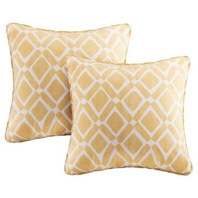 "Yellow Natalie Printed Square Throw Pillow 2pk 20""x20"""