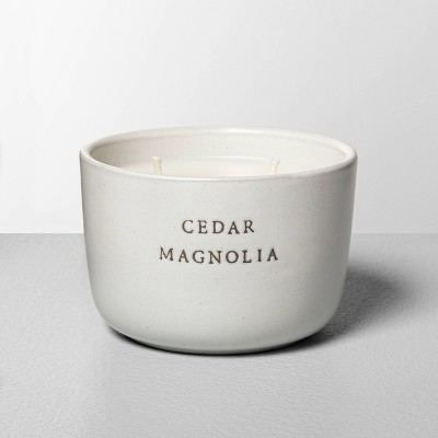 7.4oz Cedar Magnolia 2-Wick Ceramic Container Candle - Hearth & Hand™ with Magnolia