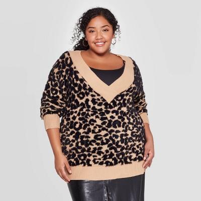 Women's Plus Size Long Sleeve V Neck Pullover Sweater   Ava & Viv™ by Ava & Viv