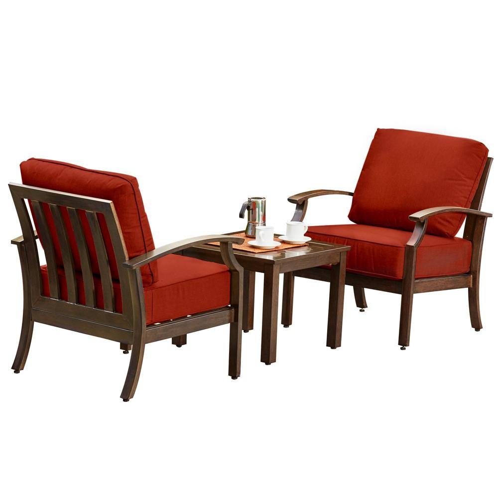 3pc Bridgeport Seating Chat Set Red - Royal Garden