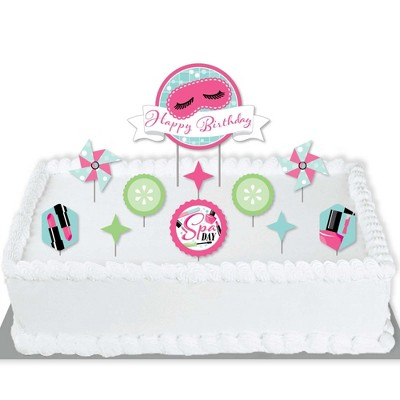 Big Dot of Happiness Spa Day - Birthday Party Cake Decorating Kit - Happy Birthday Cake Topper Set - 11 Pieces