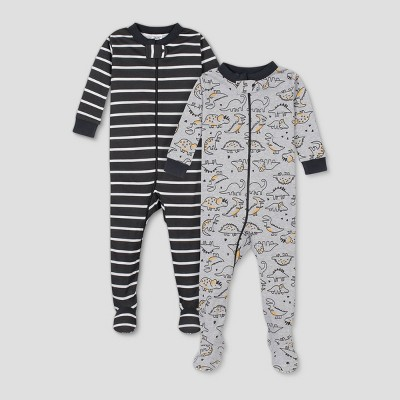 Gerber Baby Boys' 2pk Dino Footed Pajama - Black/White/Gray 9M