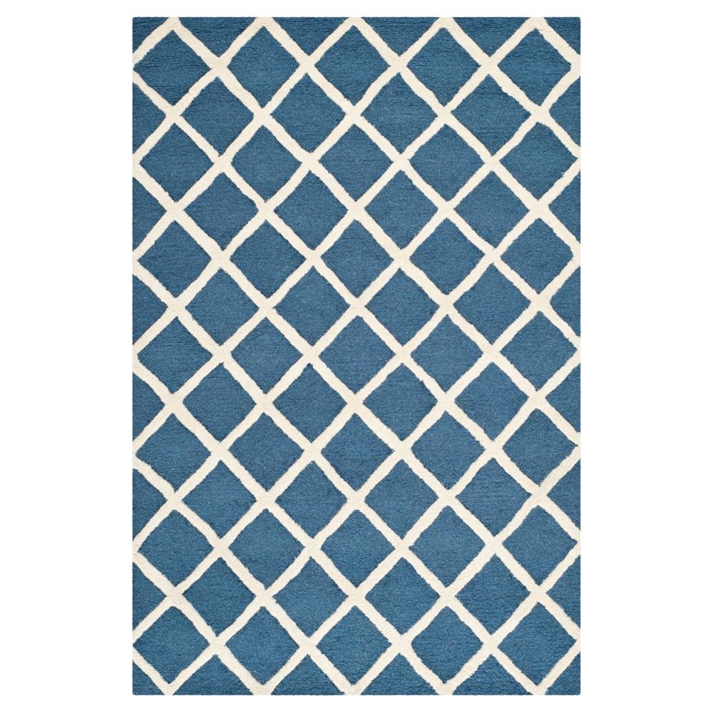 4'X6' Trellis Area Rug Navy/Ivory (Blue/Ivory) - Safavieh
