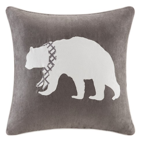 "Gray Holiday Bear Embroidered Suede Throw Pillow (20""x20"") - image 1 of 1"
