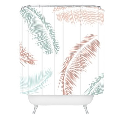 Kelly Haines Tropical Palm Leaves Shower Curtain White - Deny Designs