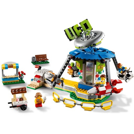 LEGO Creator Fairground Carousel 31095 Space-Themed Building Kit with Ice Cream Cart 595pc image number null