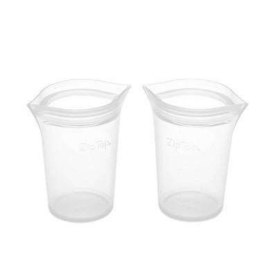 Zip Top Reusable 100% Platinum Silicone Container - Small Cup Set of 2 - Clear