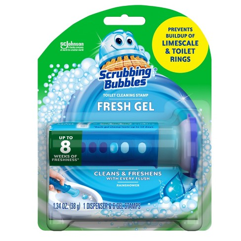 Scrubbing Bubbles Fresh Gel Toilet Cleaning Stamp Rainshower Dispenser With 6 Stamps - image 1 of 4