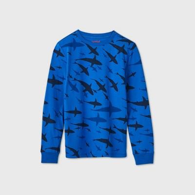 Boys' Long Sleeve Graphic T-Shirt - Cat & Jack™ Blue XS