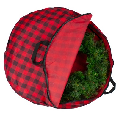 """Northlight 30"""" Heavy Duty Red and Black Plaid Christmas Wreath Storage Bag with Handles"""