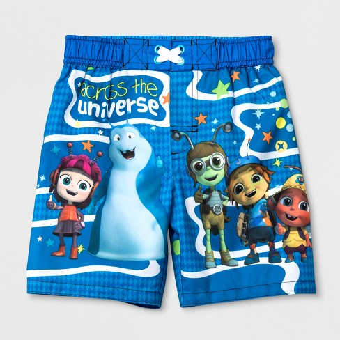 Toddler Boys' Beat Bugs Swim Trunks - Blue - image 1 of 1