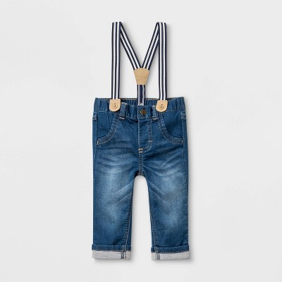 Baby Boys' Suspender Denim Jeans - Cat & Jack™ Medium Wash 6-9M