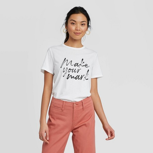 Women's Regular Fit Make Your Mark Short Sleeve Round Neck T-Shirt - A New Day™ White  - image 1 of 3