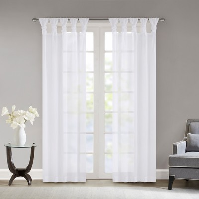 Persis Twisted Tab Voile Sheer Window Pair White 50 x63