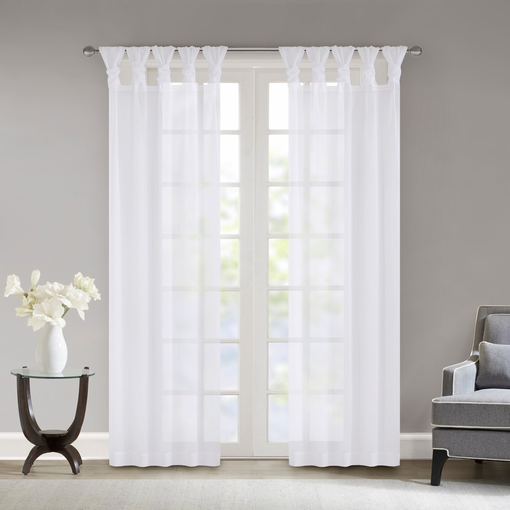 Persis Twisted Tab Voile Sheer Window Pair White 50