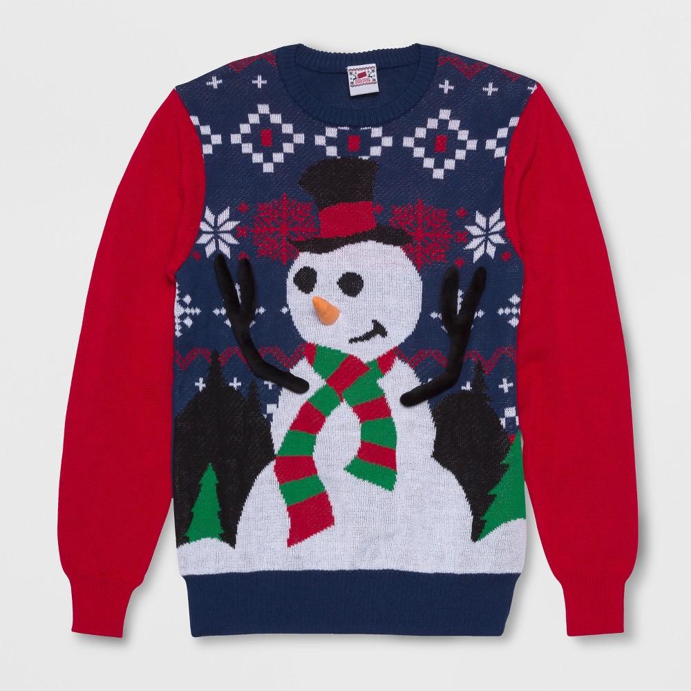 Well Worn Men's Big & Tall Ring Toss Snowman Ugly Holiday Sweatshirt - Sea Ship Blue 3XLT