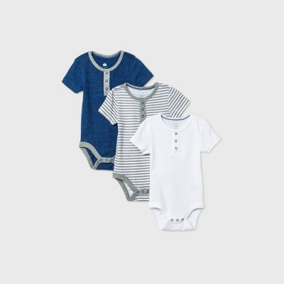 Baby Boys' 3pk Short Sleeve Basic Bodysuit - Cloud Island™ Navy 0-3M