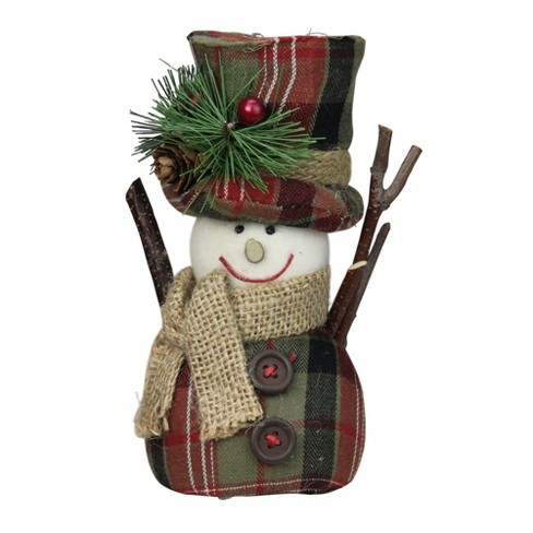 Christmas Top Hat.Northlight 6 Green And Red Plaid Snowman With Top Hat And Scarf Table Top Christmas Figure