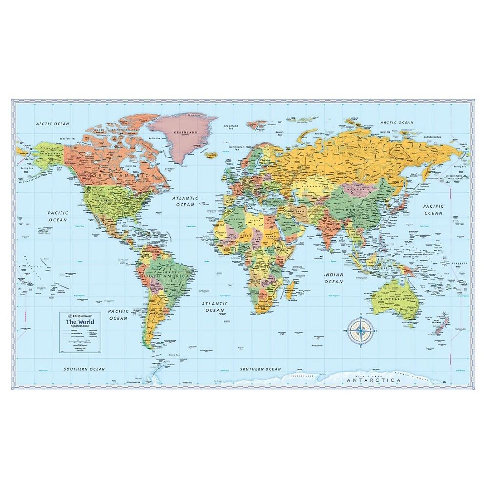 Signature World Folded Wall Map by Rand McNally