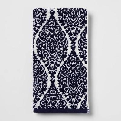 Performance Hand Towel Navy Ogee - Threshold™