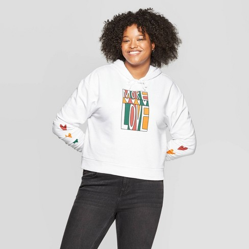 Women's Plus Size Long Sleeve More Love Cropped Graphic Hoodie - Mighty Fine (Juniors') - White - image 1 of 2