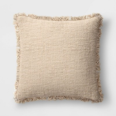 "24""x24"" Oversized Square Throw Pillow with Fringe Neutral - Threshold™"