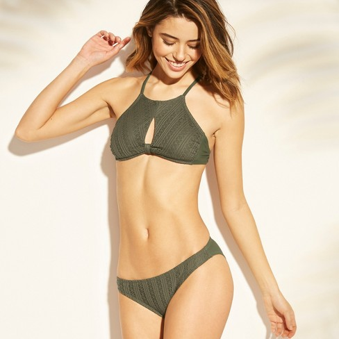 ac49752b80787 Women s Knot Front Crochet High Neck Bikini Top - Xhilaration™ Olive ...