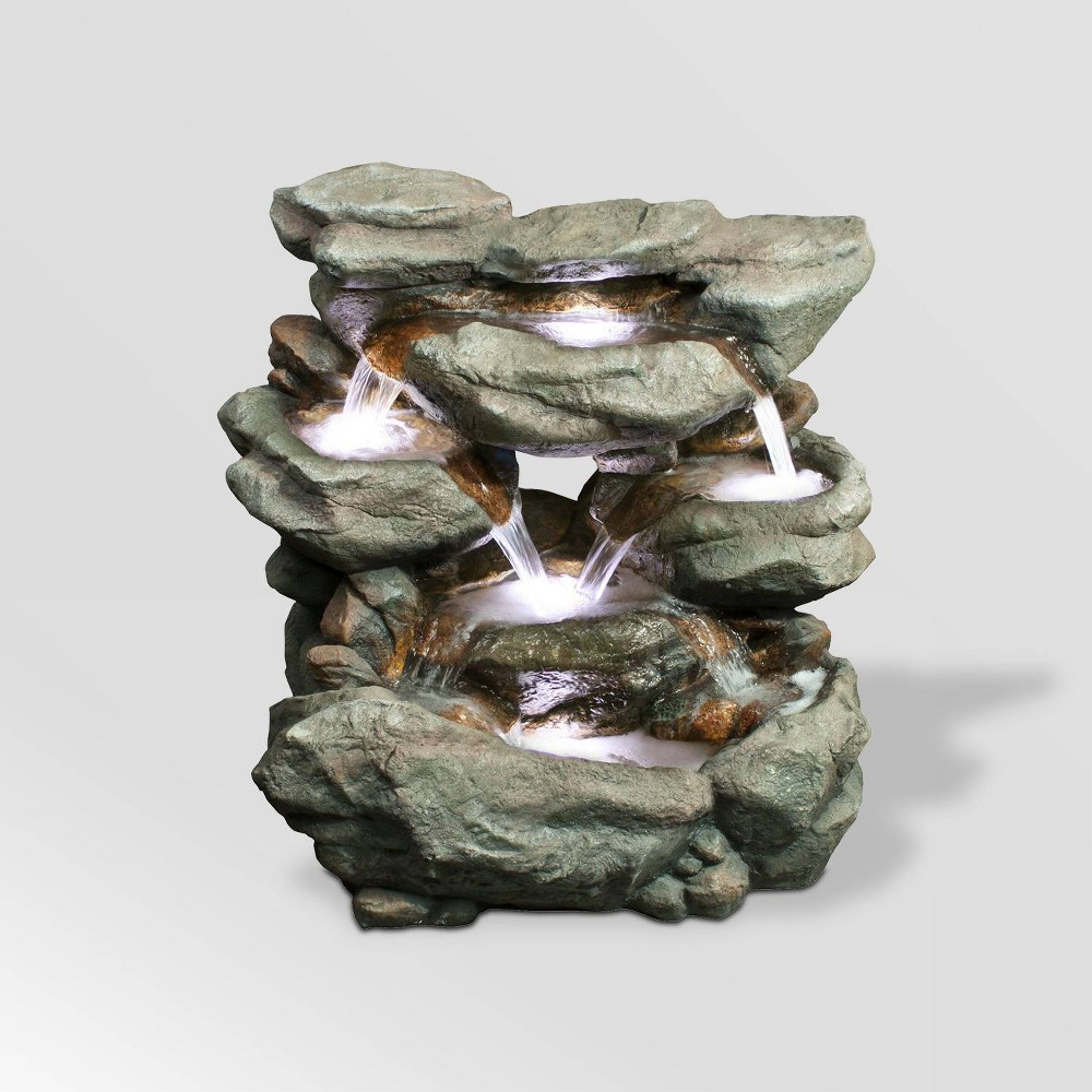 "Image of ""Alpine Corporation 31"""" Rainforest Waterfall Fountain With LED Lights - Brown"""