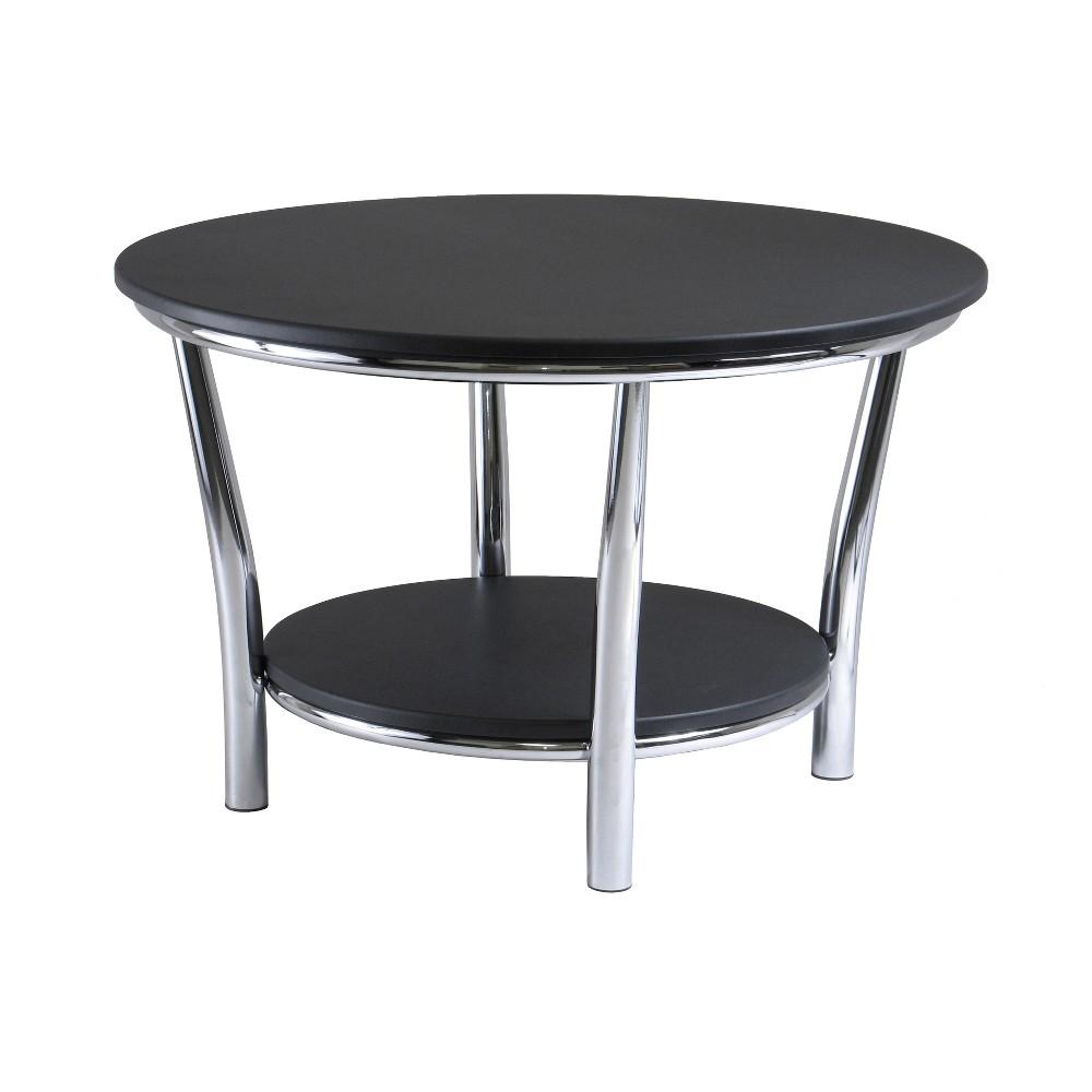 Image of Maya Round Coffee Table, Black Top, Metal Legs - Black, Metal - Winsome