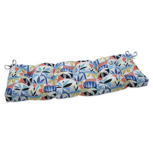 """60"""" x 18"""" Outdoor/Indoor Tufted Bench/Swing Cushion Upbeat Disco Blue - Pillow Perfect - image 1 of 1"""