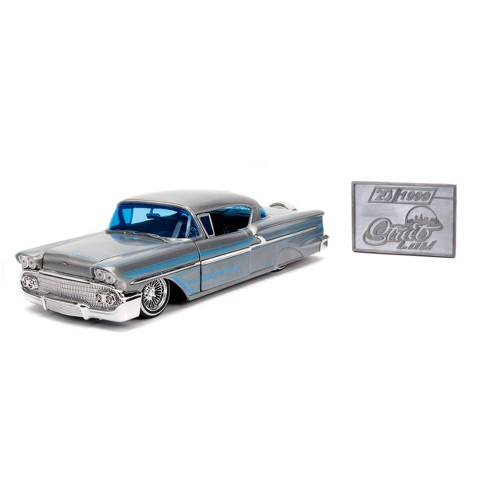 Jada Toys 20th Anniversary Street Low 1958 Chevy Impala Hardtop Die-Cast Vehicle with Mosiac Die-Cast Tile 1:24 Scale Brush Raw Metal - image 1 of 4