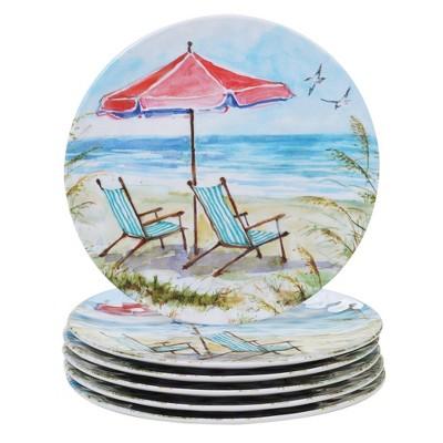 "11"" 6pk Melamine Ocean View Dinner Plates - Certified International"