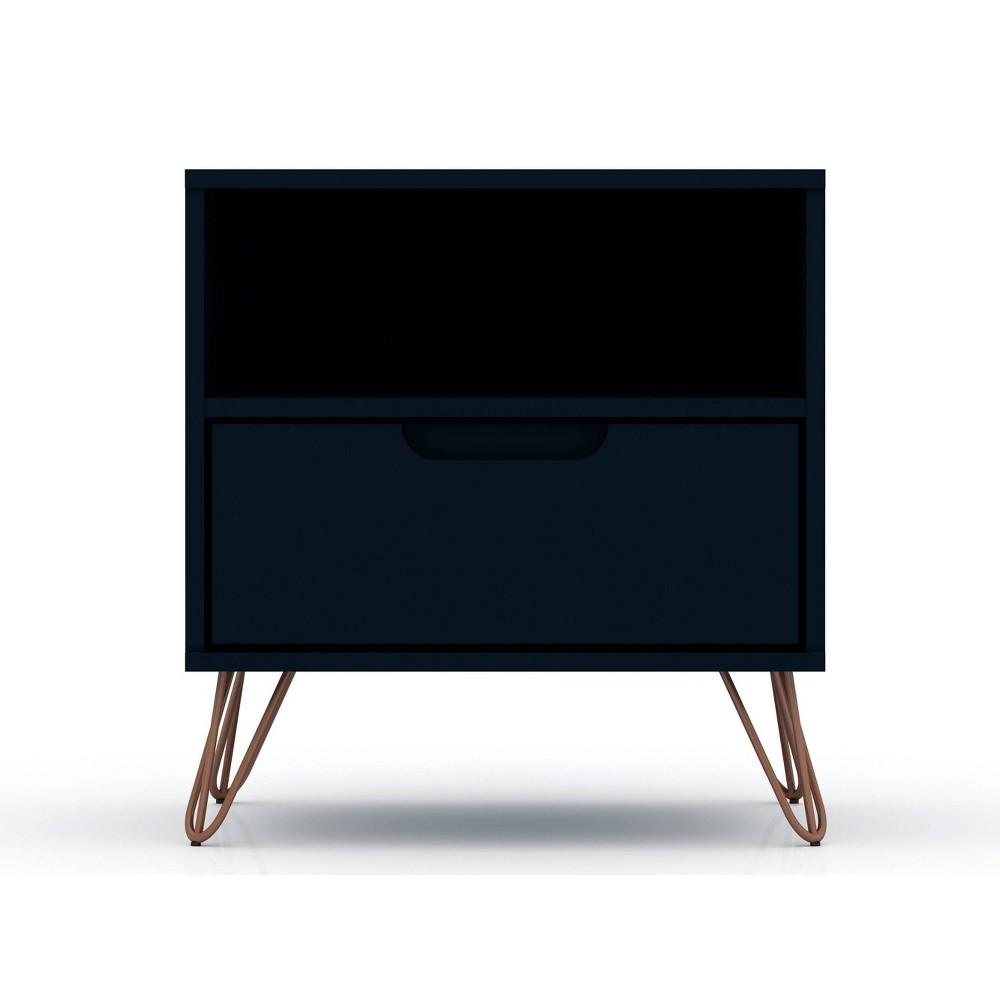 Image of 1.0 Rockefeller Nightstand Blue - Manhattan Comfort