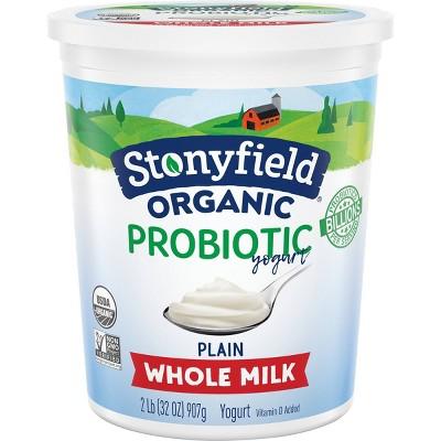 Stonyfield Organic Plain Whole Milk Probiotic Yogurt - 32oz Tub