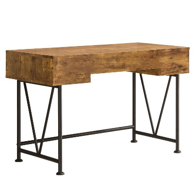 Coaster Home Furniture Analiese Industrial Home Office Writing Study Desk Laptop Table With 3 Storage Drawers And Black Metal Frame, Antique Nutmeg : Target