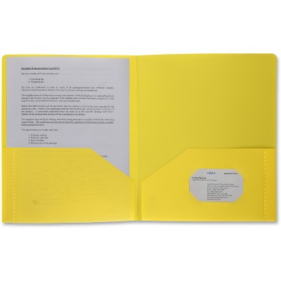Business Source Poly Portfolio 2 Pocket LTR .3mil Yellow 20878