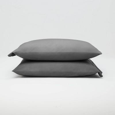 Standard Washed Supima Percale Solid Pillowcase Set Dark Gray - Casaluna™